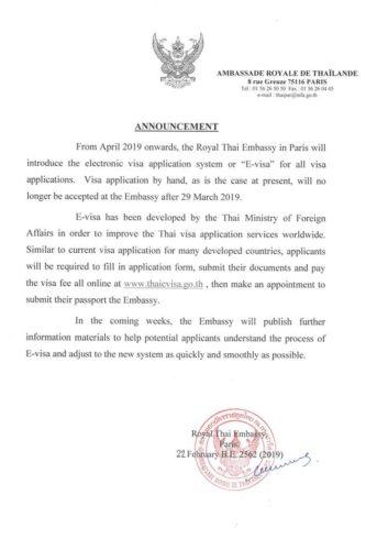 La Thaïlande lance son e-visa en avril 2019 pour les français
