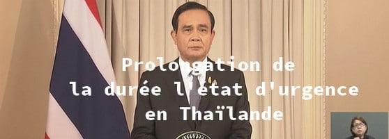 Thaïlande le gouvernement décréte la prolongation de l'état d'urgence
