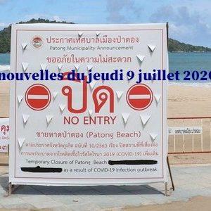 Thaïlande : Les nouvelles du jeudi 9 juillet 202O (Newsletter)